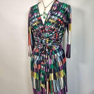 BCBG MAXAZRIA multi color wrap dress XS